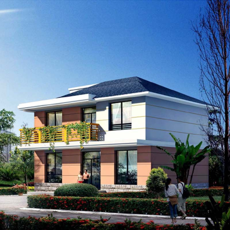 HJSD-2-3-4 2 floors 3 bedrooms prefab houses steel frame villa with quality assurance