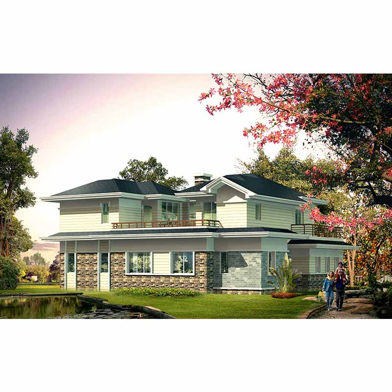 HJSD-2-4-1 2 floors 4 bedrooms modern design prefab houses villa with quality assurance