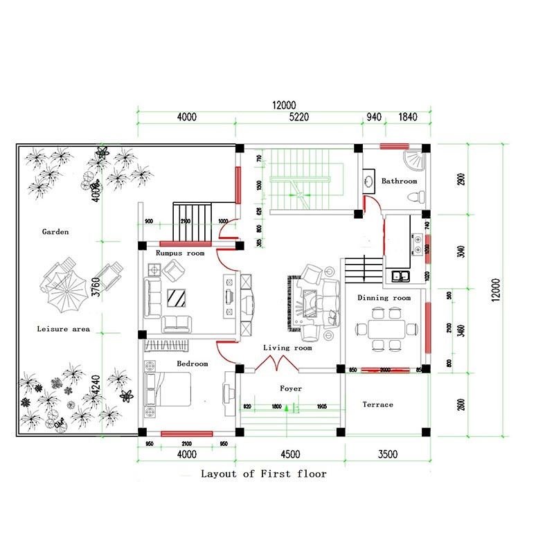 HJSD-2-4-2 2 floors 4 bedrooms prefab steel frame houses villa with quality assurance