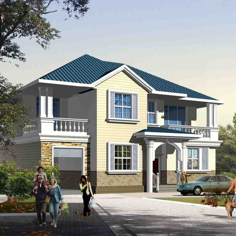 HJSD-2-5-1 low cost 2 floors 5 bedrooms light steel prefab houses villa with quality assurance