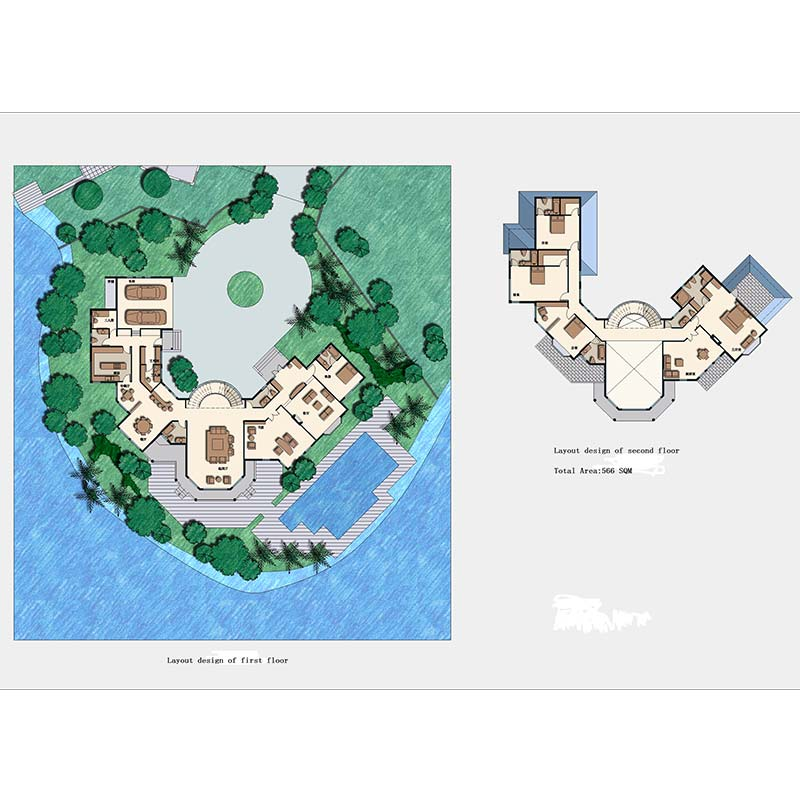 HJSD-2-5-4 low cost 2 floors 5 bedrooms prefab houses luxury villa with quality assurance