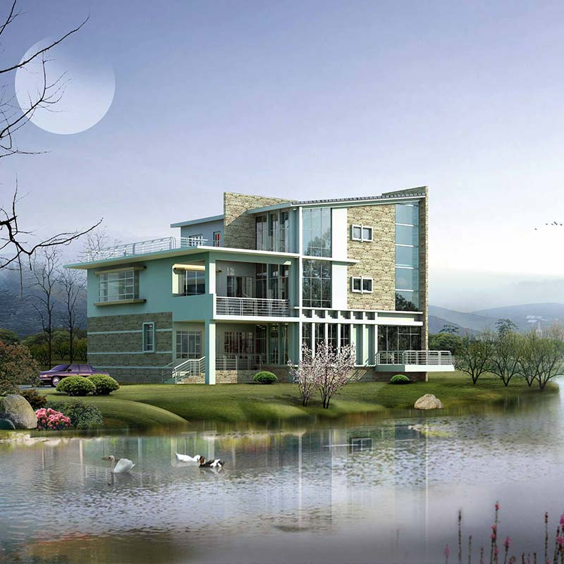 HJSD-3-3-3 High quality fast assemble prefabricated three storeys steel villa made in china