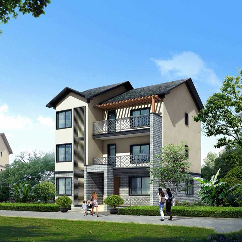 HJSD-3-3-4 Factory price windproof beautiful design three storeys steel villa for living