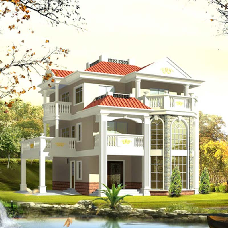 HJSD-3-4-2 Low cost fashion design steel structure villa house in three storeys