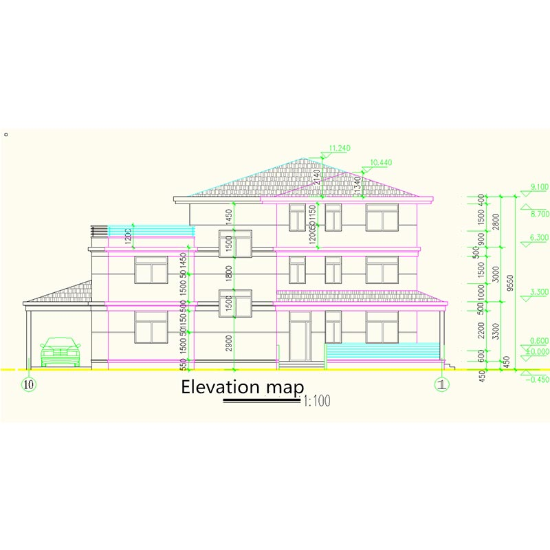 HJSD-3-4-4 China steel metal frame structure three storeys villa with 5 bedrooms