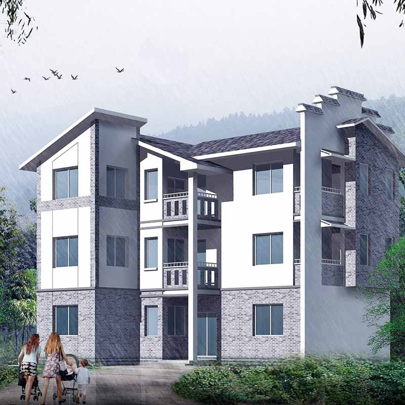 HJSD-3-5-2 customized three storeys steel structure villa for rich people