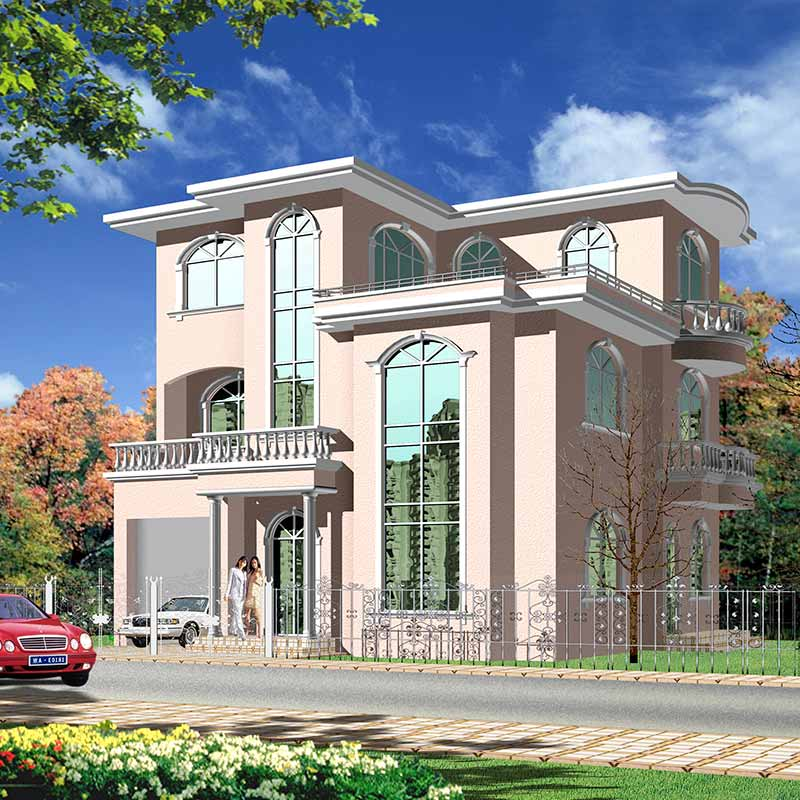 HJSD-3-5-3 new design luxury prefab steel frame three storeys villa