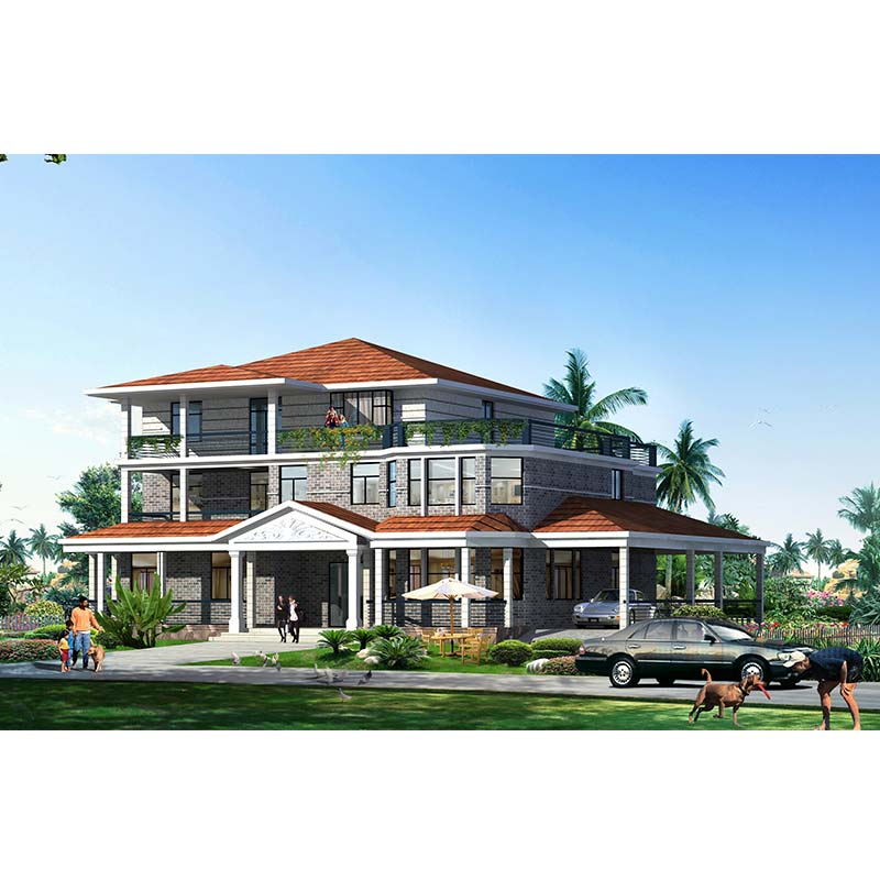 HJSD-3-5-4 custom design metal sheet prefab light steel structure villa with three storeys